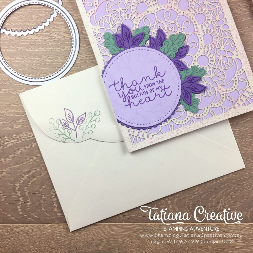 Tatiana Creative Stamping Adventure - Sparkly Thank You card using the Bird Ballard Laser-Cut Cards with Bloom & Grow stamp set decorated with Shimmery White Embossing Paste all by Stampin' Up!®