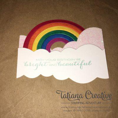 Making the rainbow using Sunshine & Rainbows Bundle - 2018 Occasions Catalogue - Tatiana Creative Stamping Adventure