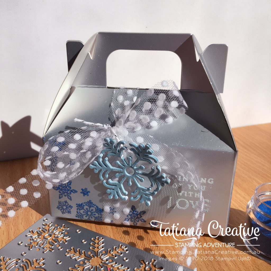 Tatiana Creative Stamping Adventure Cute Silver Gabel gift box decorated using Beautiful Blizzard bundle by Stampin' Up!®
