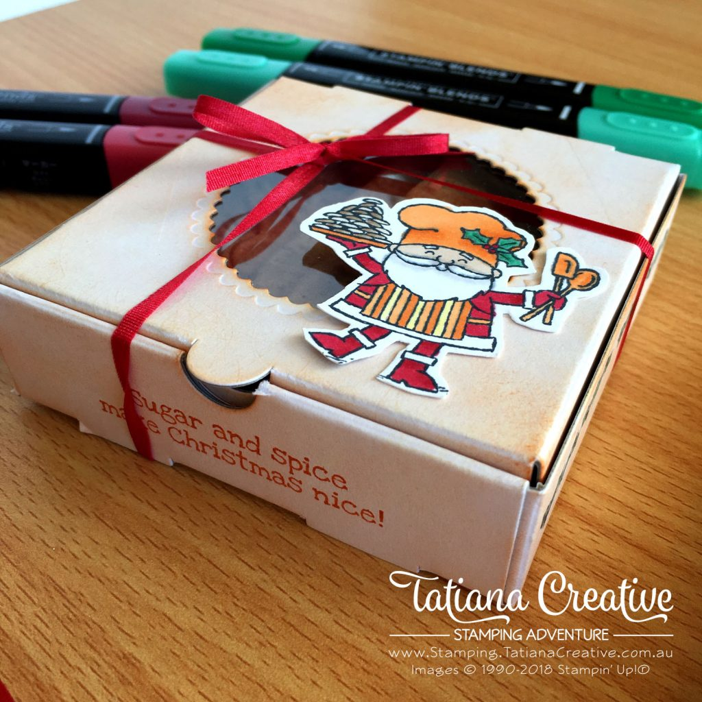 Tatiana Creative Stamping Adventure Mini Pizza Box cookie gift decorated using So Santa stamp set by Stampin' Up!®