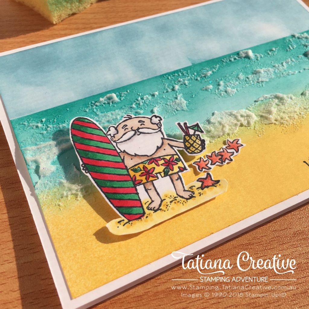 Tatiana Creative Stamping Adventure Summer Beach Christmas card using So Santa stamp set by Stampin' Up!®