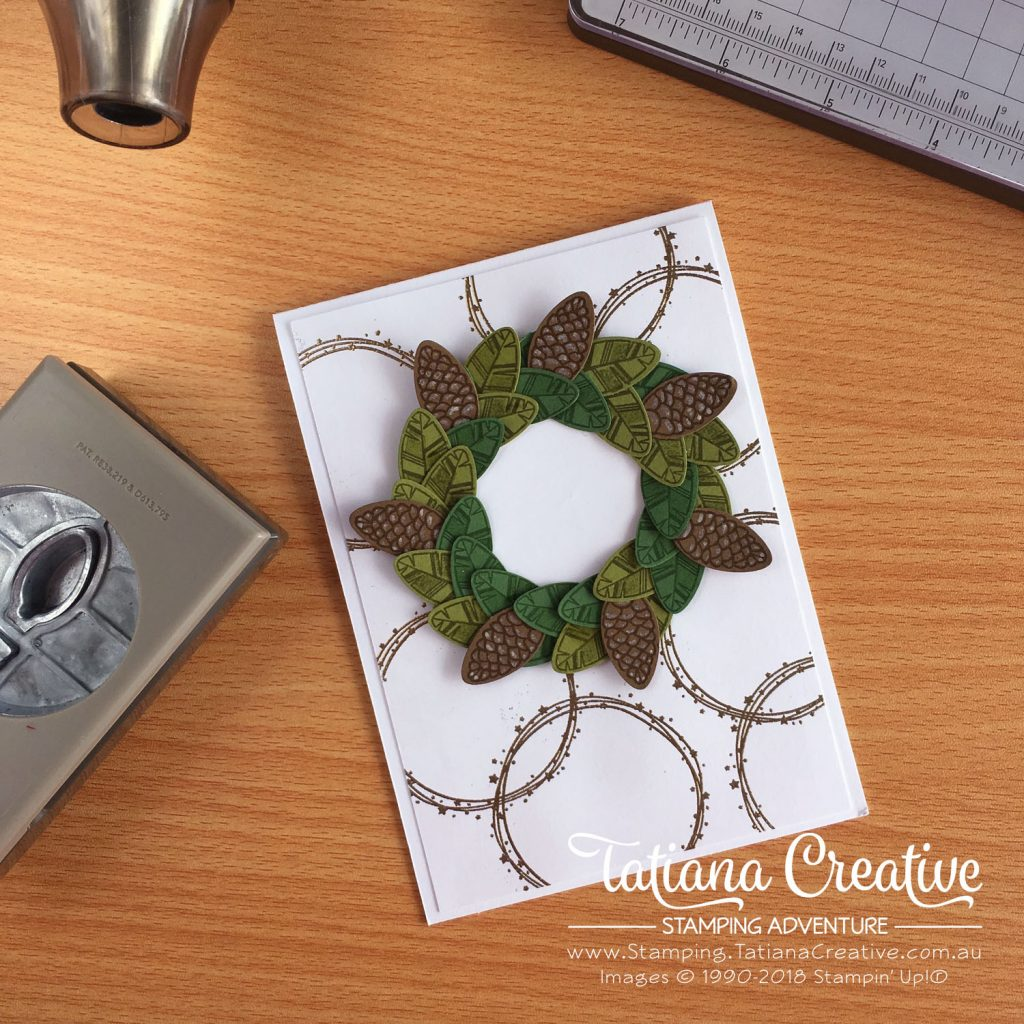 Tatiana Creative Stamping Adventure - Pinecone Wreath Card using Christmas Bulb Builder Punch and Making Every Day Bright stamp set both by Stampin' Up!®