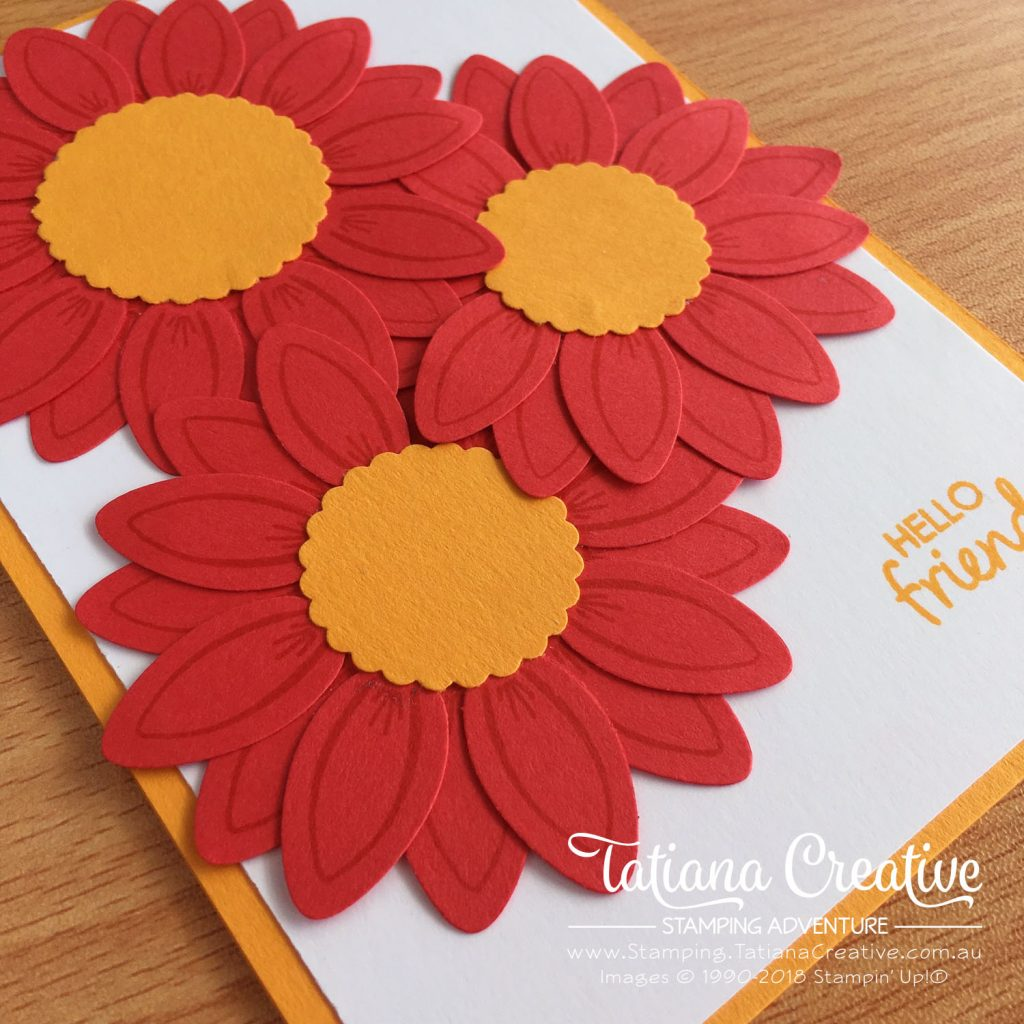 Tatiana Creative Stamping Adventure - Gerbera Flower Card using Christmas Bulb Builder Punch and Making Every Day Bright stamp set both by Stampin' Up!®