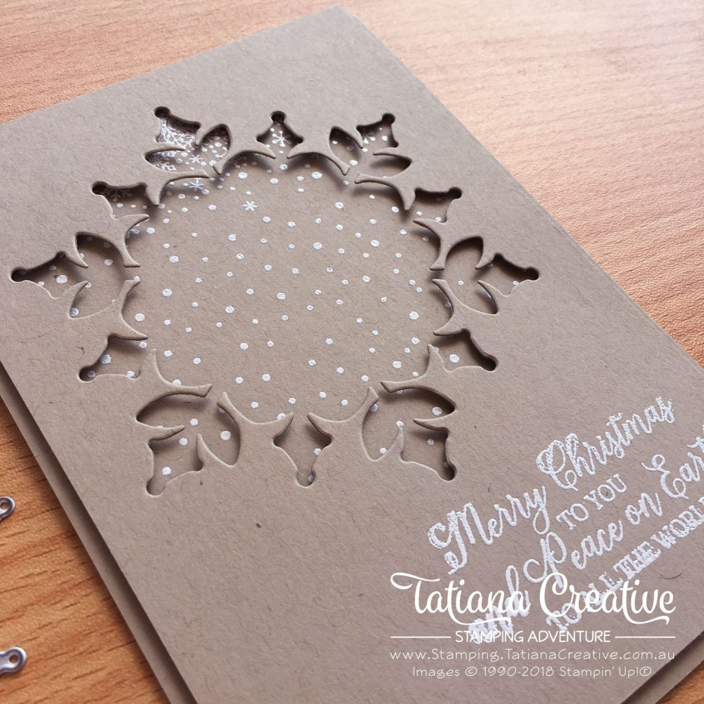 Tatiana Creative Stamping Adventure - Giant snowflake window card using Snowfall Thinlits and Snow Is Glistening stamp set both by Stampin' Up!®