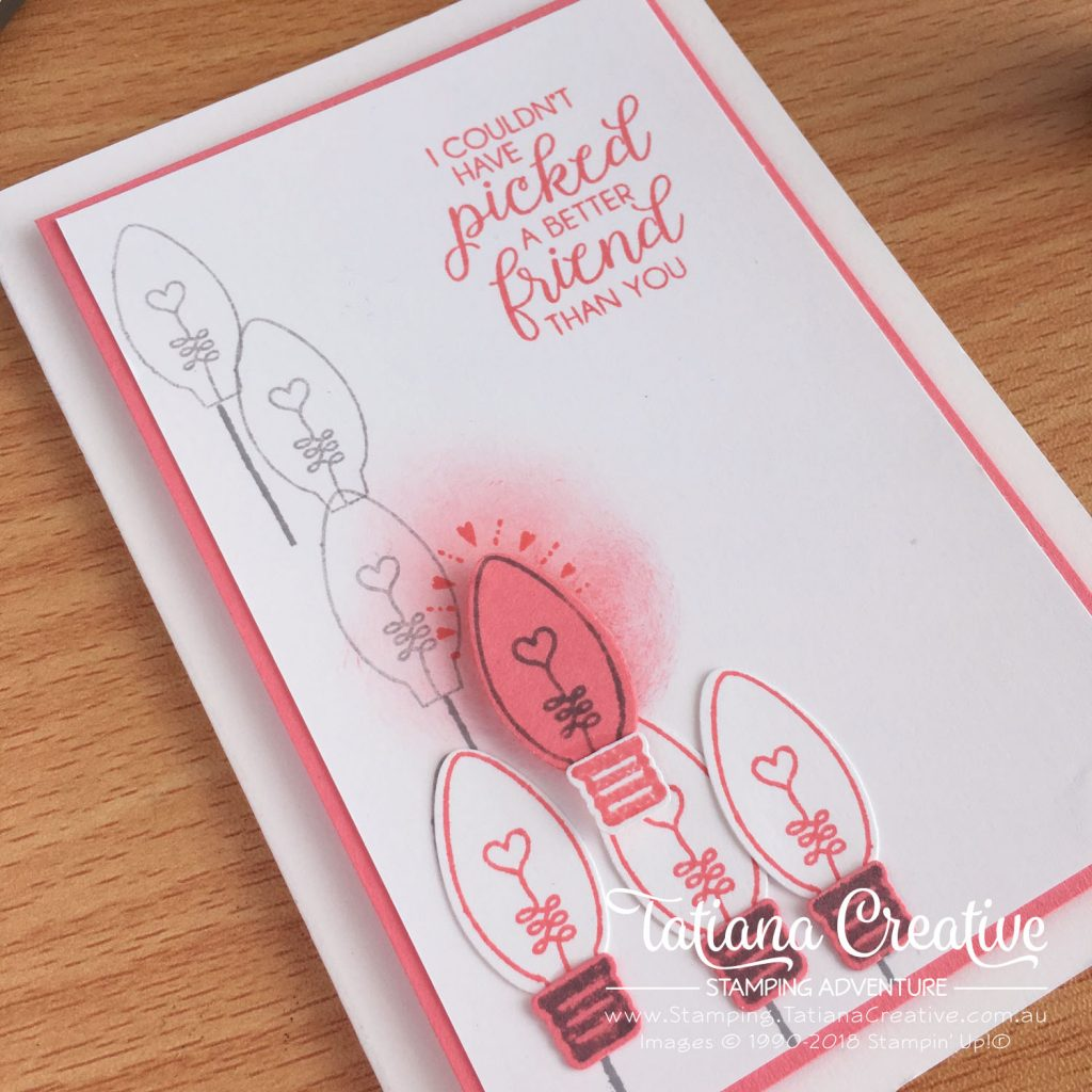 Tatiana Creative Stamping Adventure - Friendship Light Bulb Card using Christmas Bulb Builder Punch and Making Every Day Bright stamp set both by Stampin' Up!®
