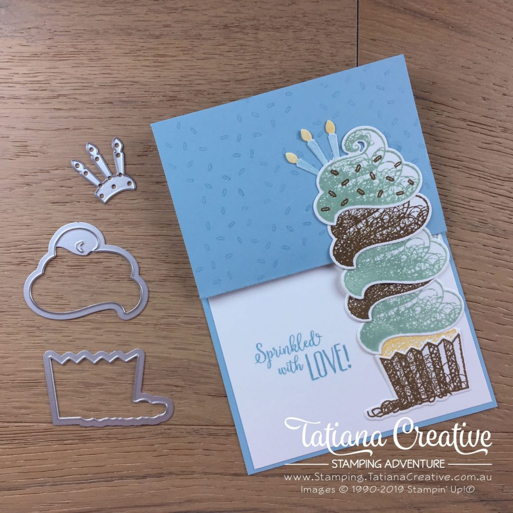 Tatiana Creative Stamping Adventure - Fun Fold Birthday Card using the Sale-A-Bration Hello Cupcake and co-ordinating framelits Call Me Cupcake all by Stampin' Up!®