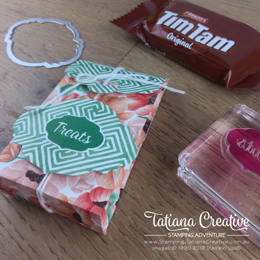 Tatiana Creative Stamping Adventure - Individual TimTams bag for OnStageLive Auckland 2019 gifts using Painted Season DSP and Sweetest Thing bundle both by Stampin' Up!®