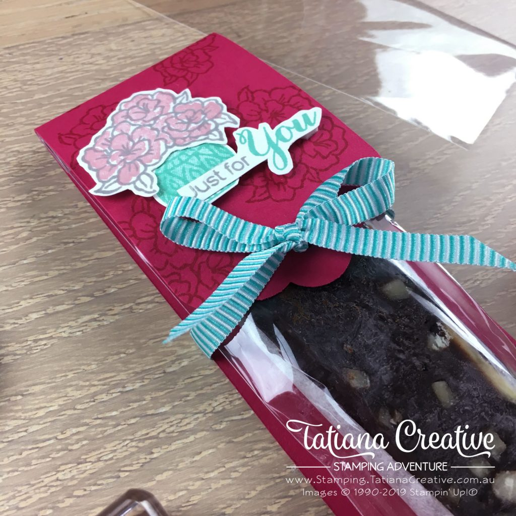 Tatiana Creative Stamping Adventure - Chocolate Fudge packaging using the Vibrant Vases stamp set and  coordinating Vases Builder Punch by Stampin' Up!®