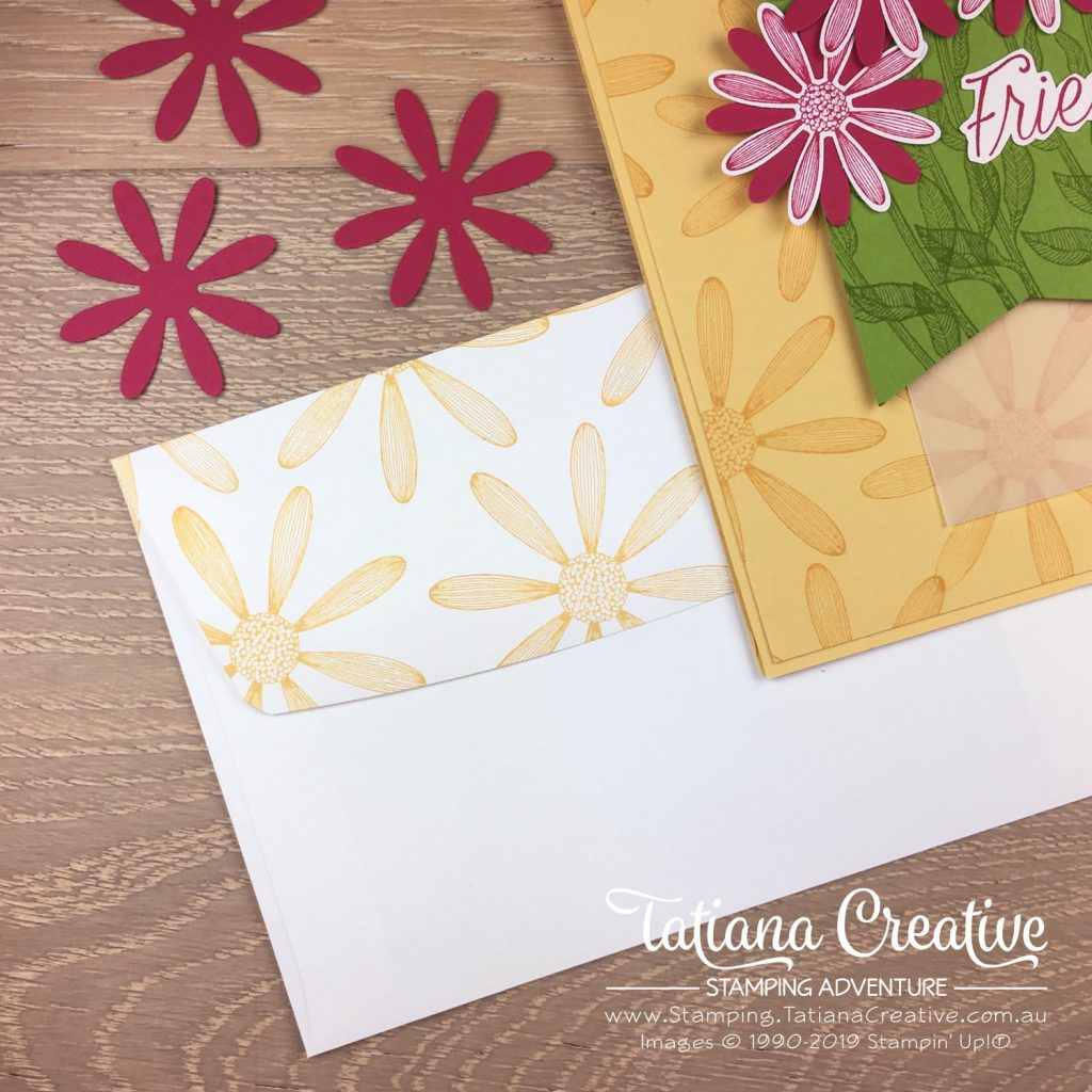 Tatiana Creative Stamping Adventure - Friendship Daisy card using the Daisy Lane stamp set and Medium Daisy Punch both by Stampin' Up!®