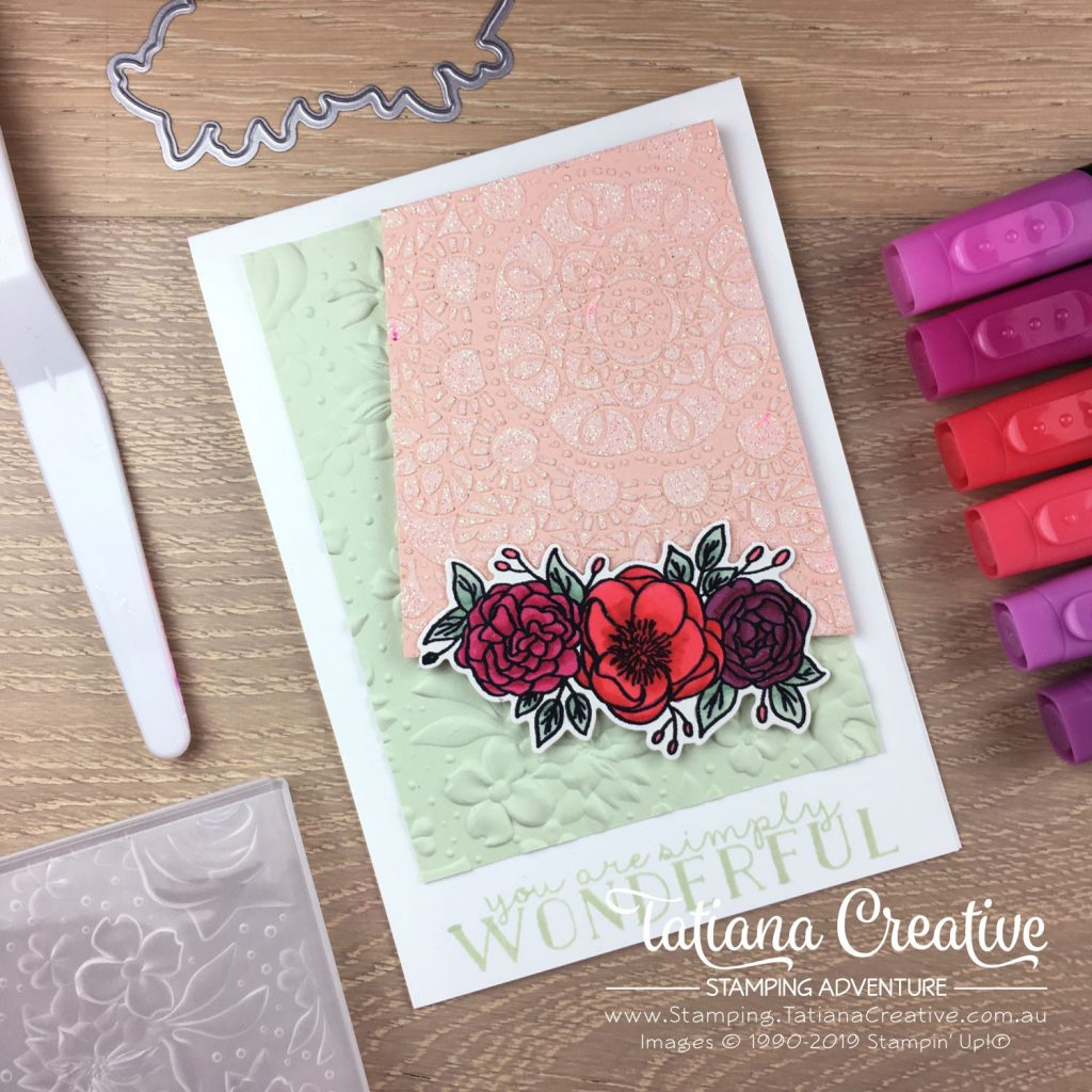Tatiana Creative Stamping Adventure - Florals, Sparkles and Encouragement card using the Bird Ballard Laser-Cut Cards as a mask with Embossing Paste and the Bloom & Grow stamp set all by Stampin' Up!®