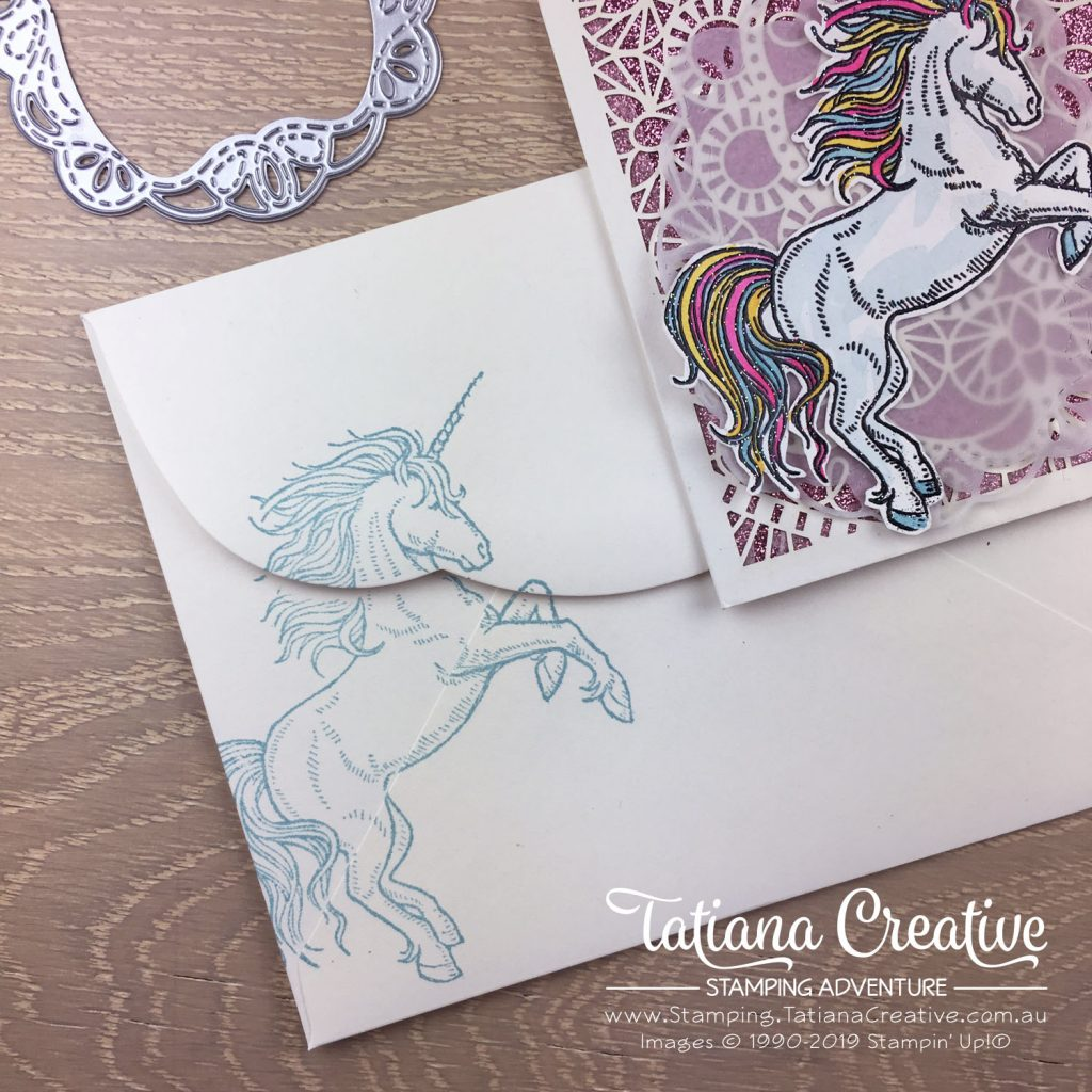 Global Creative INKspirations - Tatiana Creative Stamping Adventure - Magical Sparkly Unicorn Believe card using the Bird Ballard Laser-Cut Cards with Leave A Little Sparkle stamp set both by Stampin' Up!®