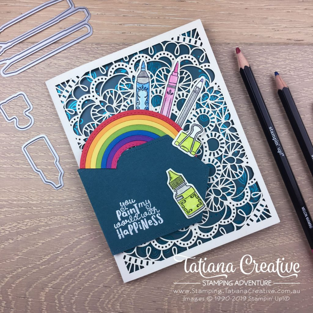 Tatiana Creative Stamping Adventure - Tri Fold Rainbow Art Card on the Bird Ballard Laser-Cut Cards with It Starts With Art stamp set and Noble Peacock Specialty DSP all by Stampin' Up!®