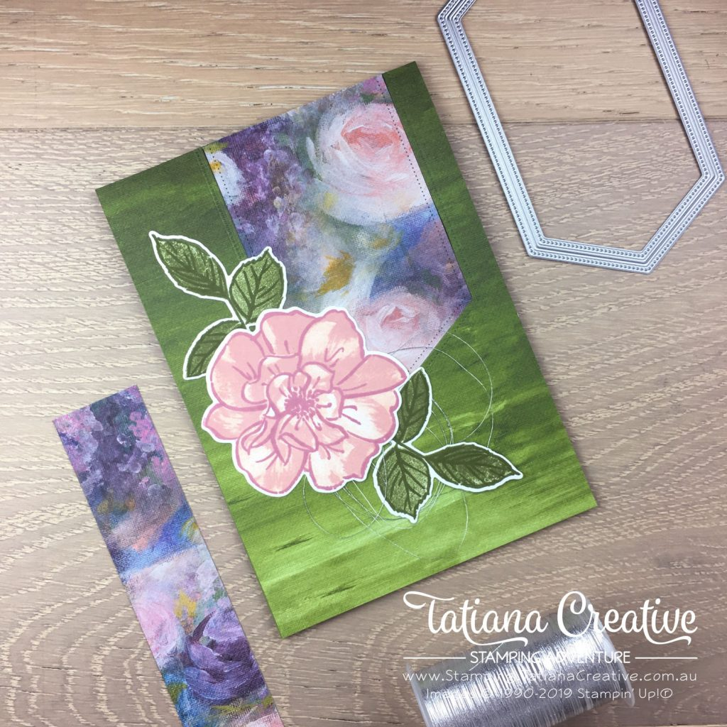 Tatiana Creative Stamping Adventure - Rose card using the To A Wild Rose stamp set, Perennial Essence DSP and Stitched Nested Label Dies all by Stampin' Up!®