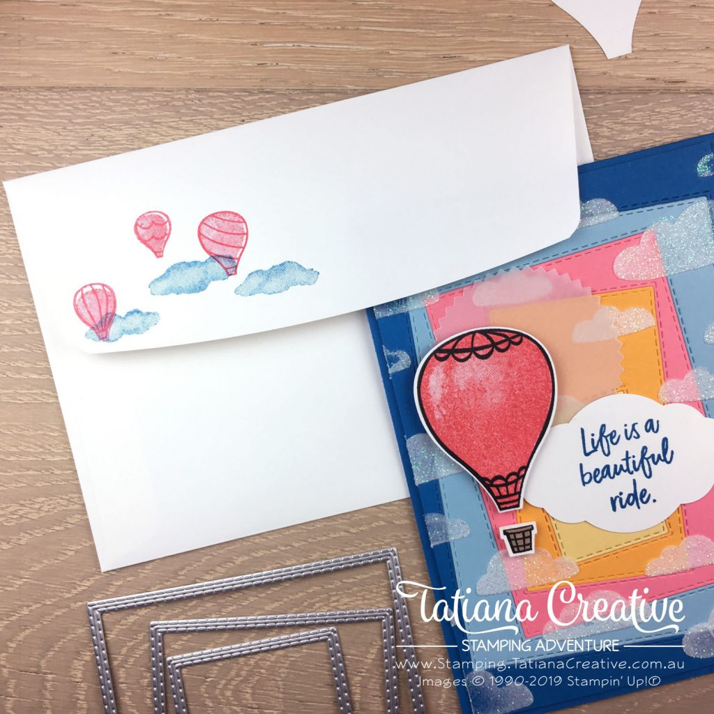 Tatiana Creative Stamping Adventure - Hot Air Balloon in the Sunrise card using the Above The Clouds Bundle by Stampin' Up!®