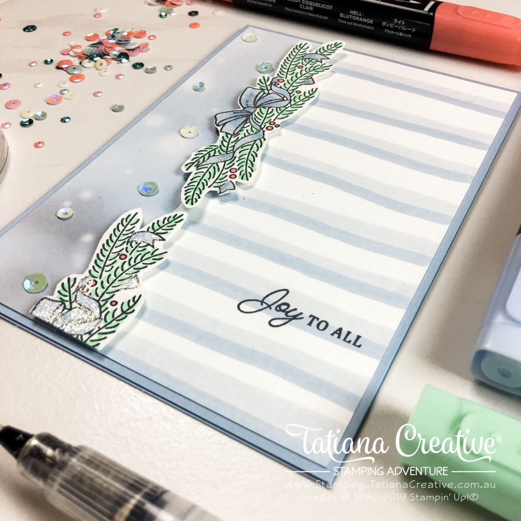 Tatiana Creative Stamping Adventure - Joy To All Christmas Card using the Shine Bright stamp set from Stampin' Up!®