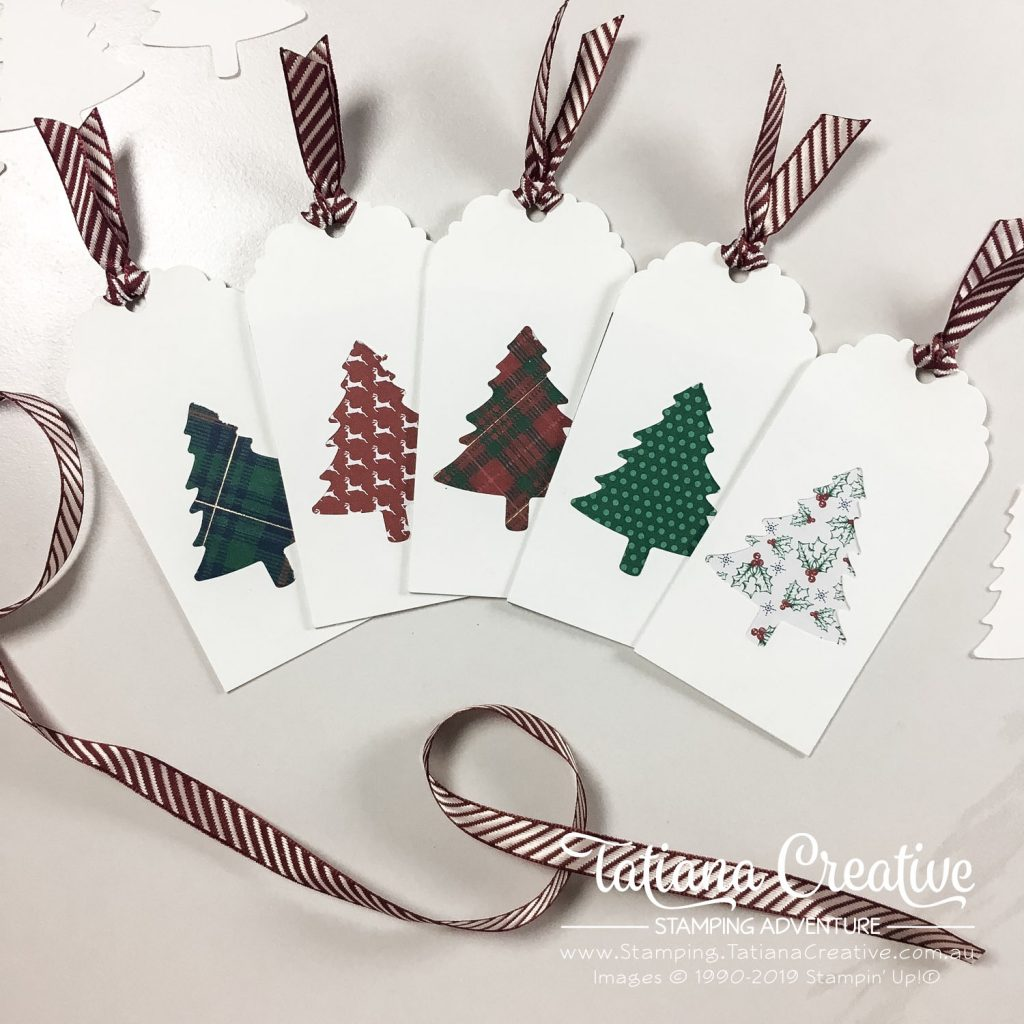 Tatiana Creative Stamping Adventure - Christmas Gift Tags using Pine Tree Punch and Wrapped In Plaid Specialty DSPboth from Stampin' Up!®