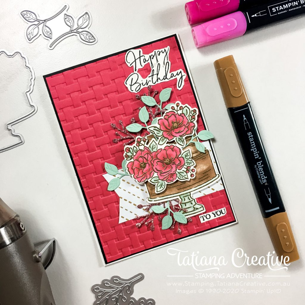 Tatiana Creative Stamping Adventure - Chocolate Floral Birthday Cake Card using the SAB stamp set Happy Birthday To You by Stampin' Up!®