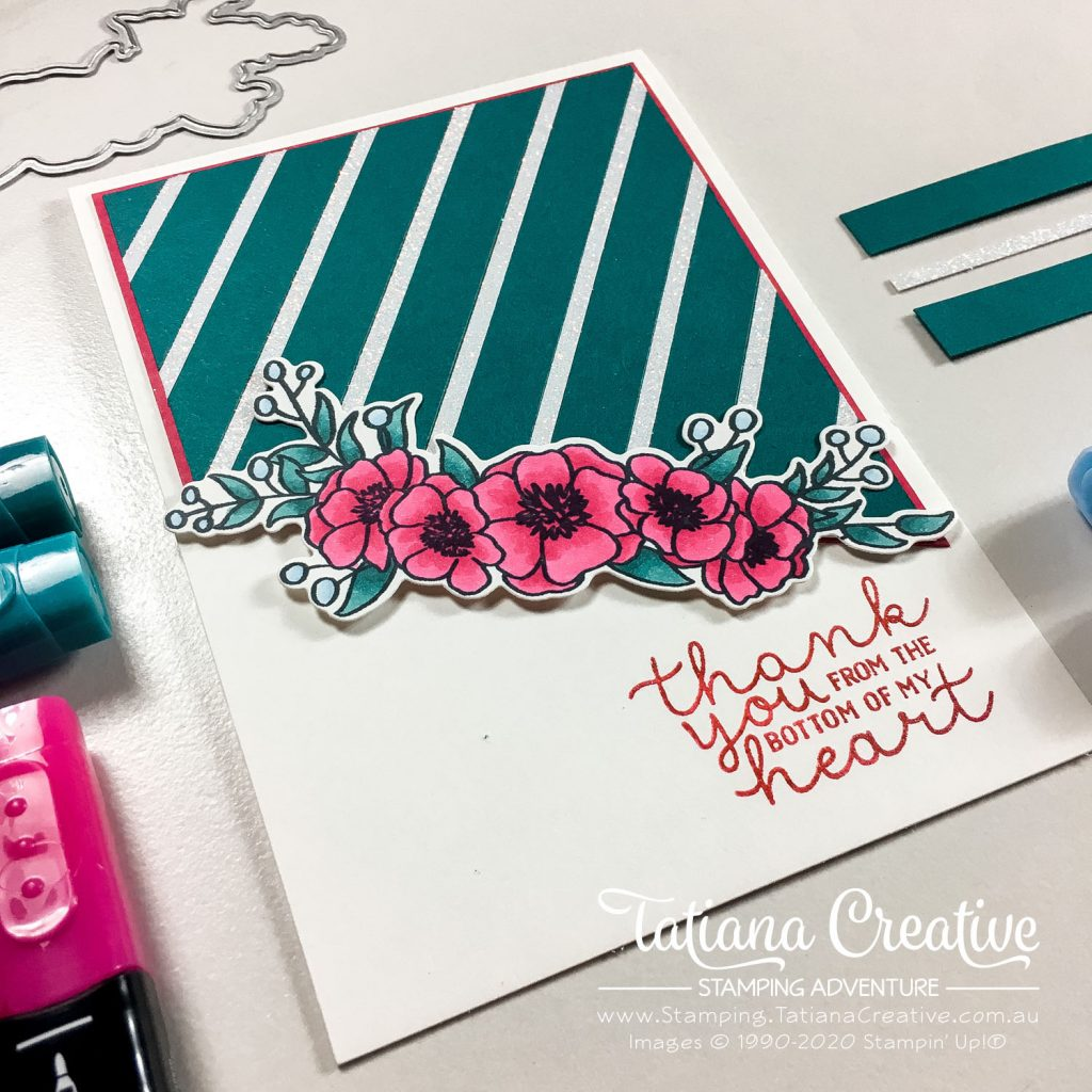 Tatiana Creative Stamping Adventure - Floral Thank You card using scraps and the Bloom & Grow stamp set by Stampin' Up!®