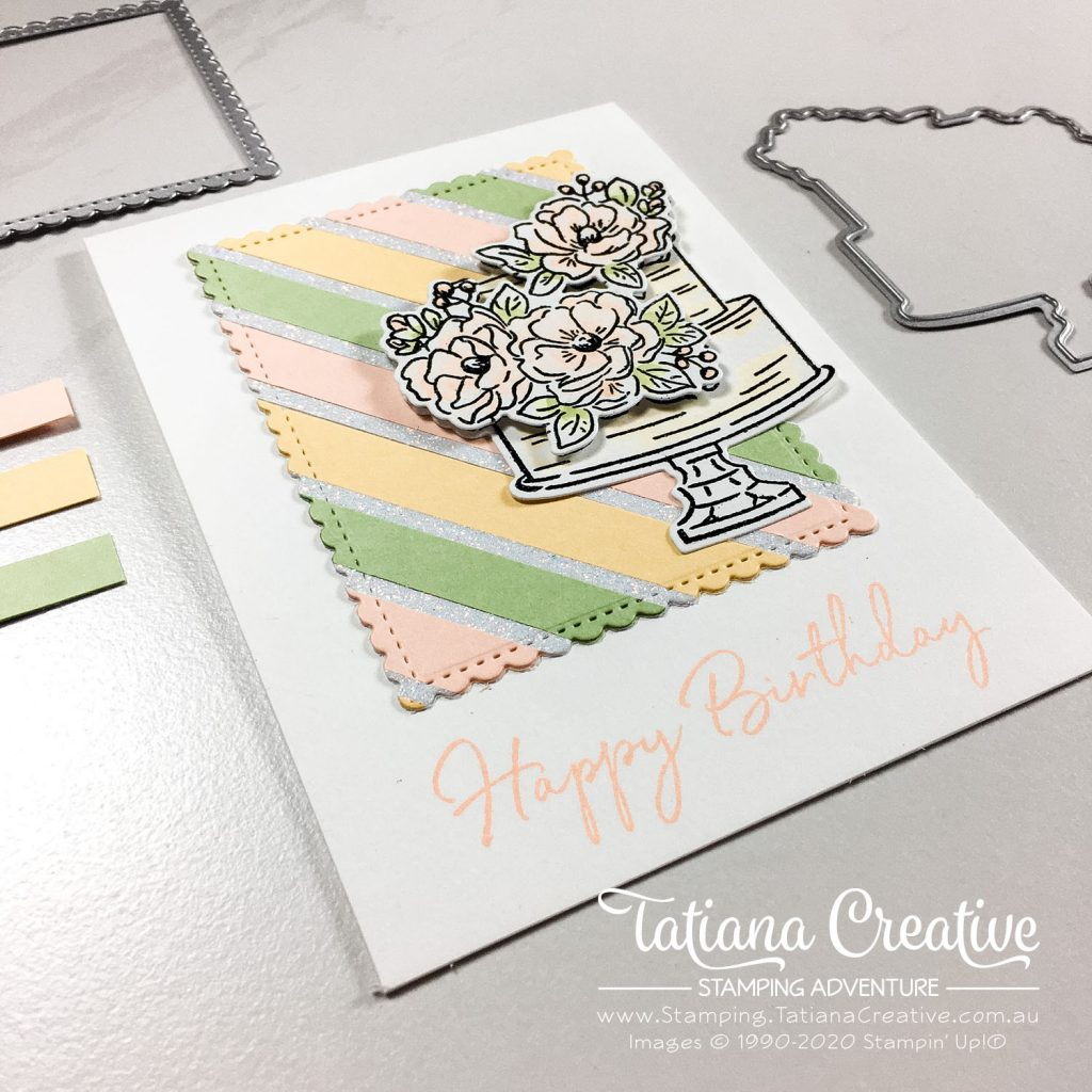 Tatiana Creative Stamping Adventure - Two Cards from one background made from scraps using the Happy Birthday To You Sale-A-Bration stamp set and product coordination Birthday Dies Bundle both by Stampin' Up!®