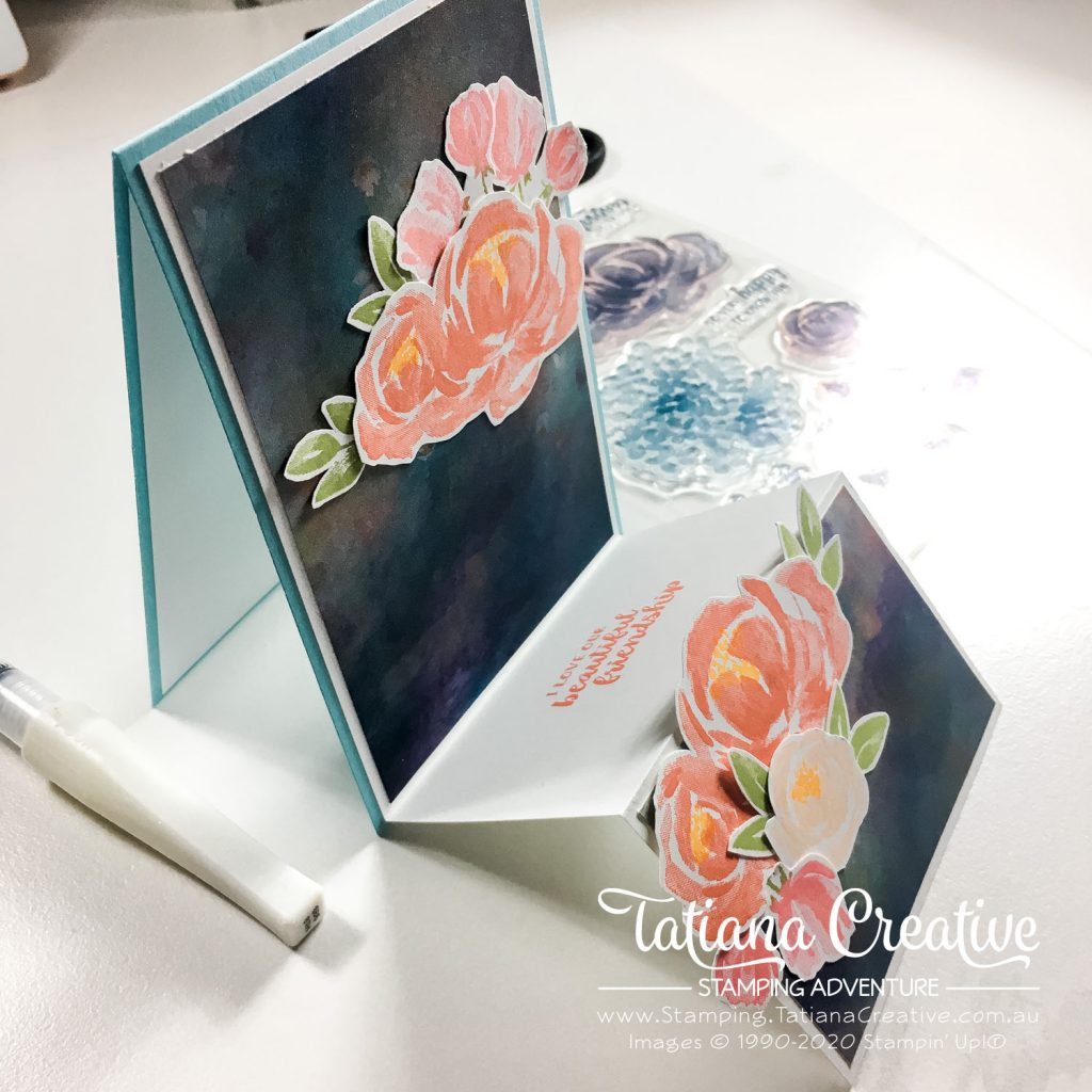 Fantastic Fun Folds with Tatiana Creative Stamping Adventure - Floral Double Easel card v1 using Beautiful Friendship stamp set and Perennial Essence DSP by Stampin' Up!®