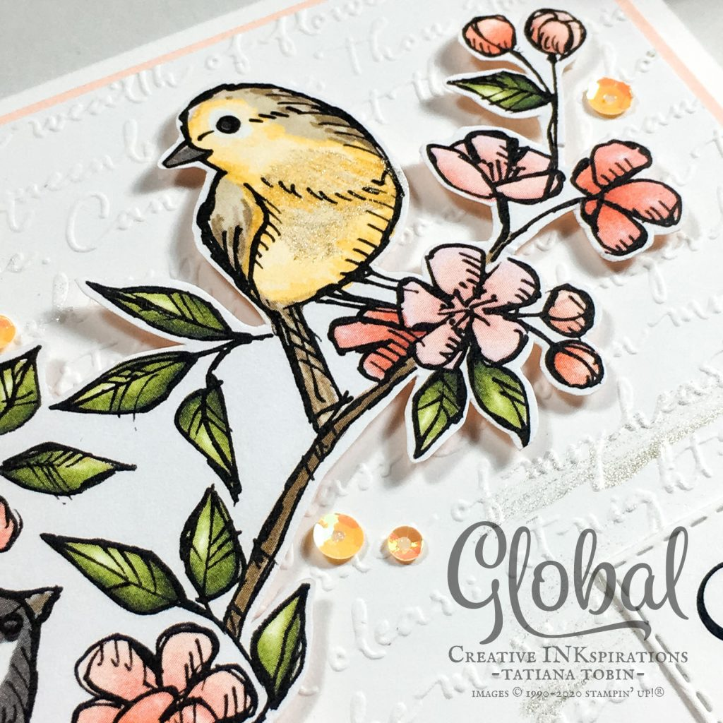Tatiana Creative Stamping Adventure - COVID-19 Relief cards using Share Sunshine COVID-19 PDF and Bird Ballad DSP both from Stampin' Up!®