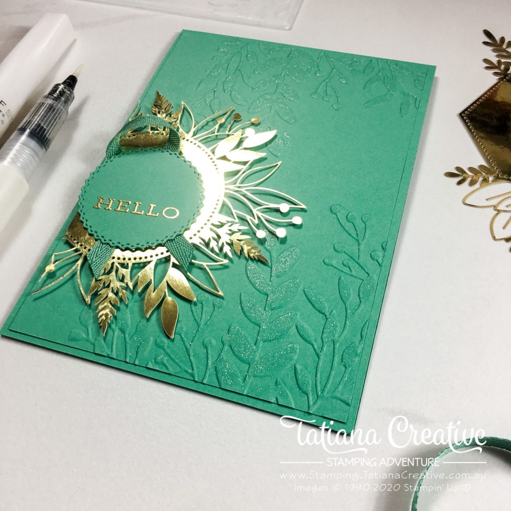 Tatiana Creative Stamping Adventure - Hello card in 2020-2022 In Color Just Jade using the Forever Gold Laser-Cut Specialty Paper by Stampin' Up!®