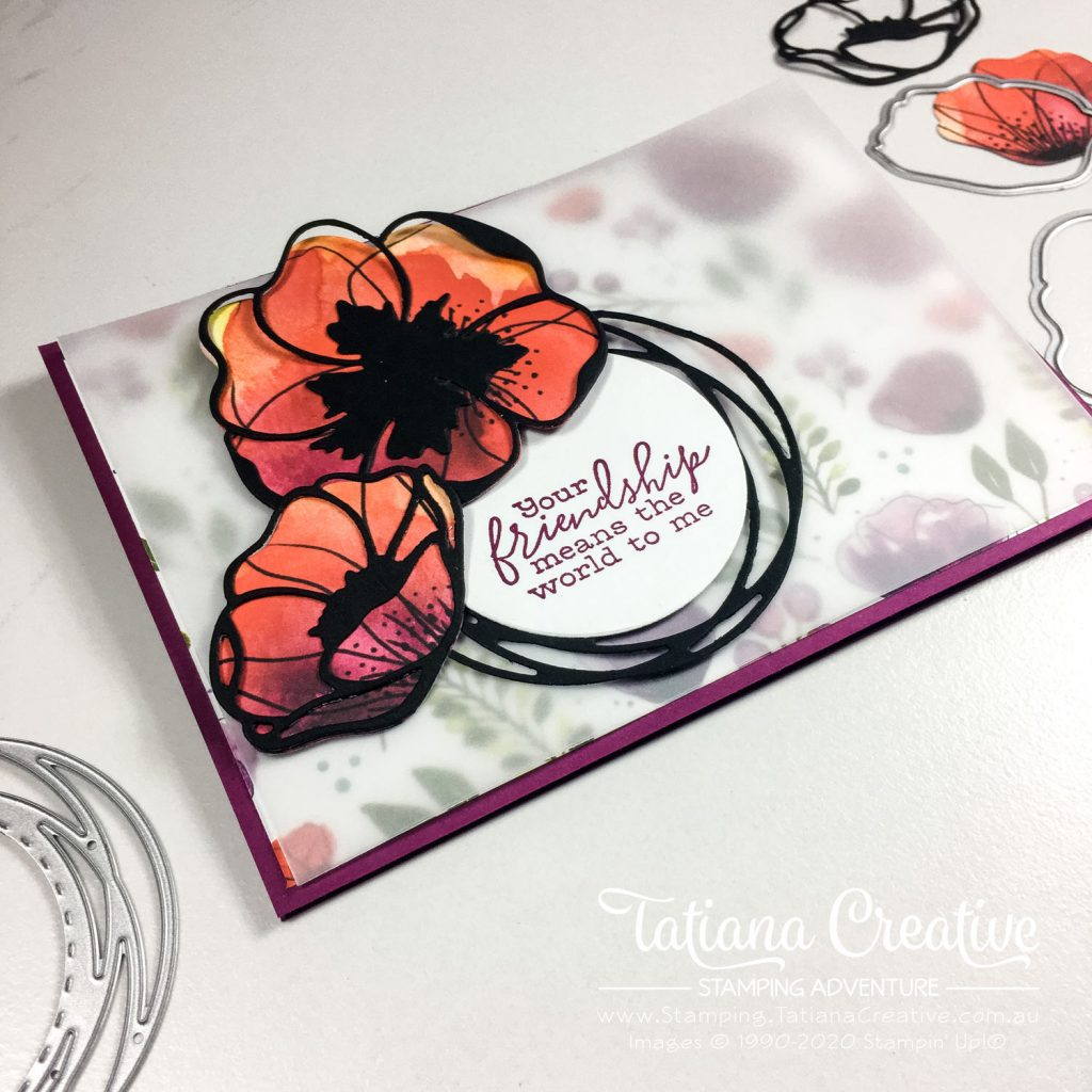 Fantastic Fun Folds with Tatiana Creative Stamping Adventure - Poppy Landscape Easel card using Peaceful Poppies DSP by Stampin' Up!®