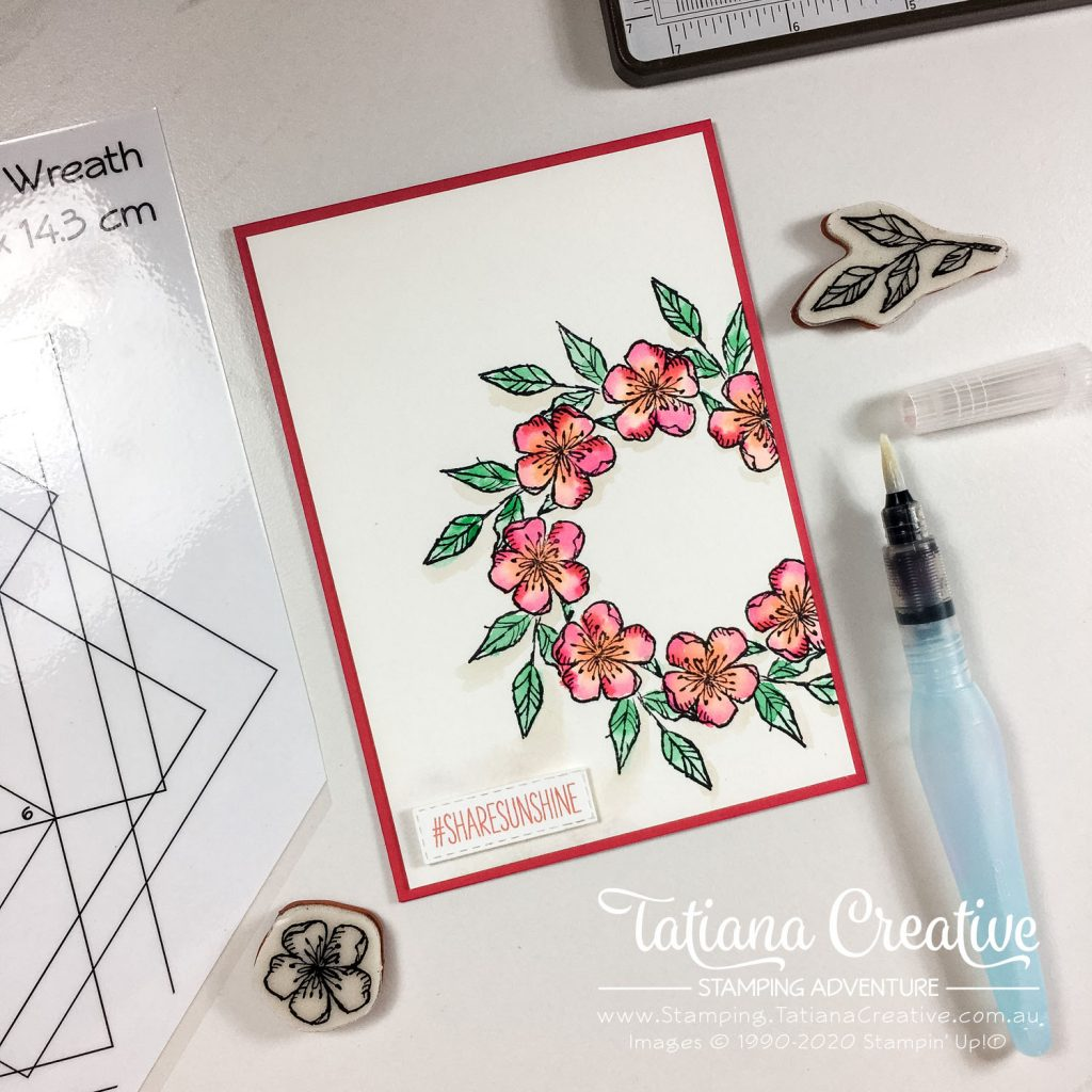 Tatiana Creative Stamping Adventure - Watercolour Blossom Offset Wreath Card using Free As A Bird stamp set and Share Sunshine COVID-19 PDF both from Stampin' Up!®