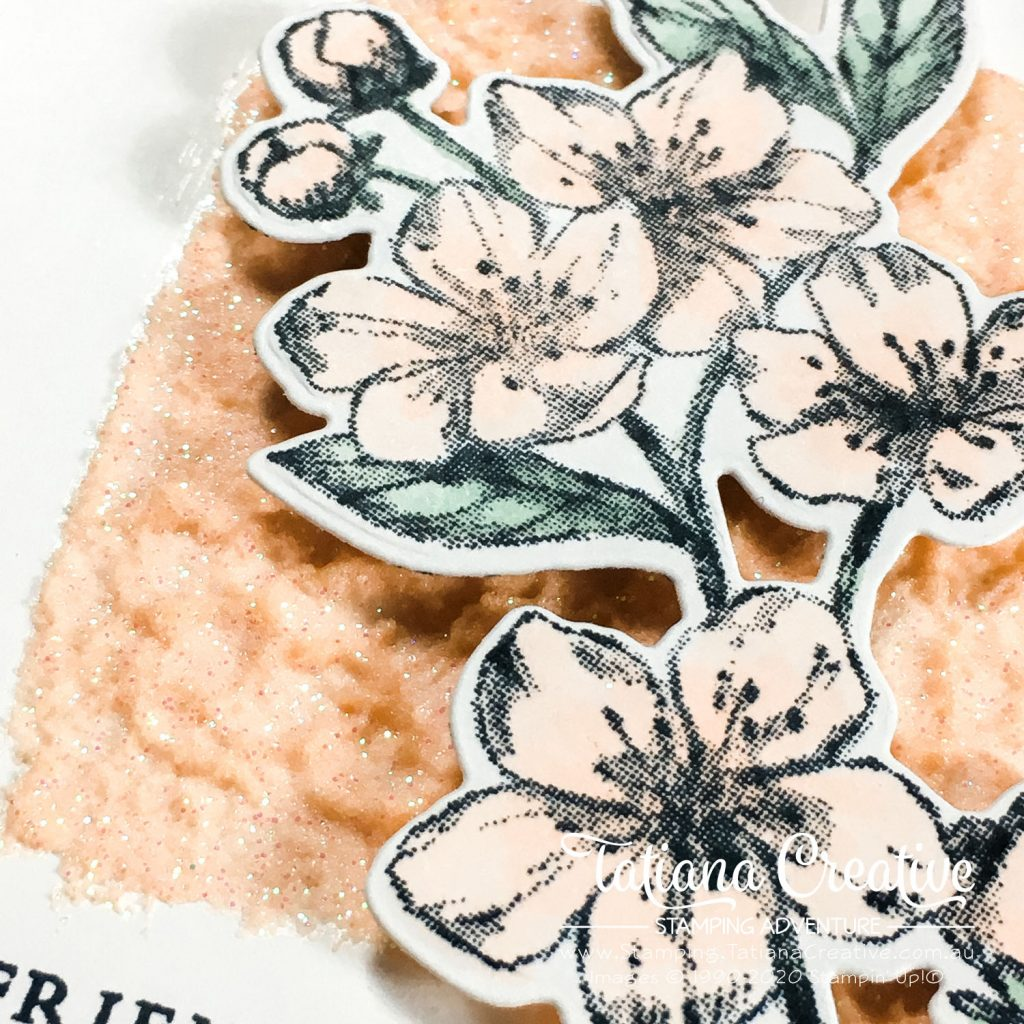 Tatiana Creative Stamping Adventure - Elegant Simplicity Friend card using the Forever Blossoms and Embossing Paste both by Stampin' Up!®