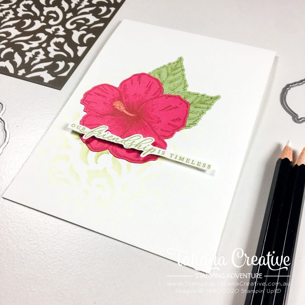 Tatiana Creative Stamping Adventure - Friendship Card card using Timeless Tropical stamp set by Stampin' Up!® and blending brushes