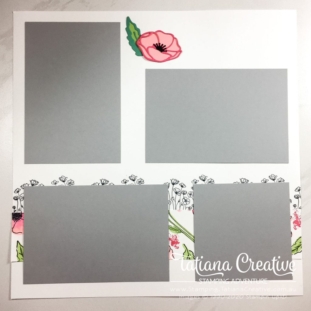Tatiana Creative Stamping Adventure - Scrapbook Double Page spread for beautiful photos using the Painted Poppies Stamp Set and Poppy Moments Dies Stampin' Up!®