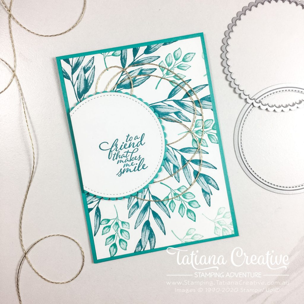 Tatiana Creative Stamping Adventure - Leaf Wreath Background Friendship Card using Forever Fern stamp set from Stampin' Up!®
