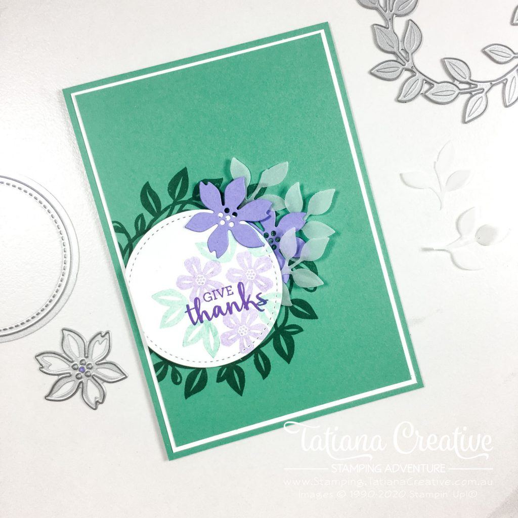 Tatiana Creative Stamping Adventure - super easy wreath card using Arrange A Wreath stamp set and Wreath Builder Dies both by Stampin' Up!®