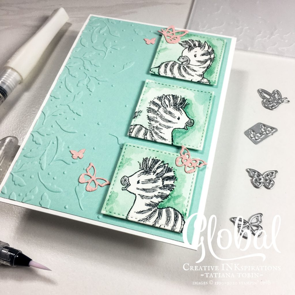 Tatiana Creative Stamping Adventure - fun Zebra panel card using Zany Zebras stamp set and Meadow Moments Embossing Folder both by Stampin' Up!®