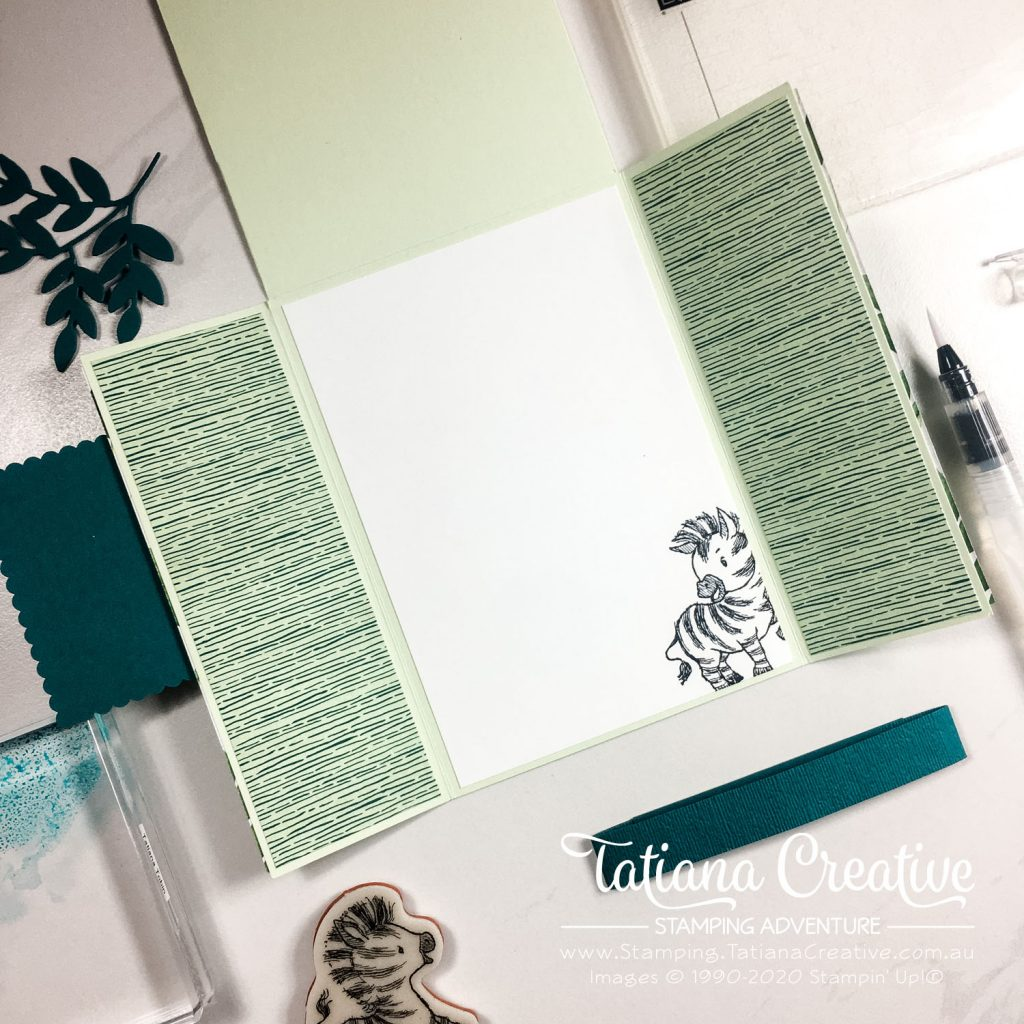 Fantastic Fun Folds with Tatiana Creative Stamping Adventure - Zany Zebra Gate Fold Variation card using Zany Zebra stamp set and Forever Greenery DSP both from Stampin' Up!®