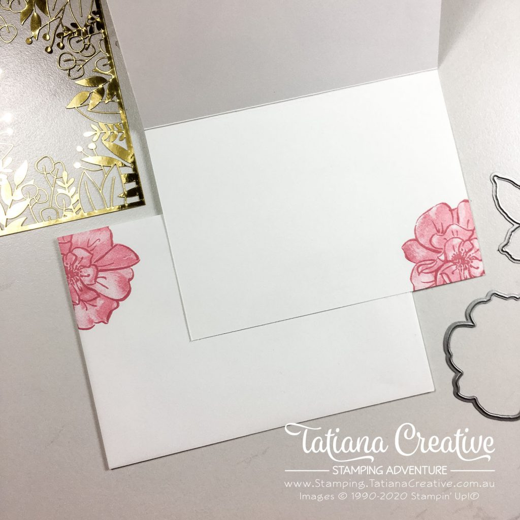 Tatiana Creative Stamping Adventure - Hello Floral card using To A Wild Rose stamp set and Forever Gold Specialty Laser-Cut Paper both from Stampin' Up!®