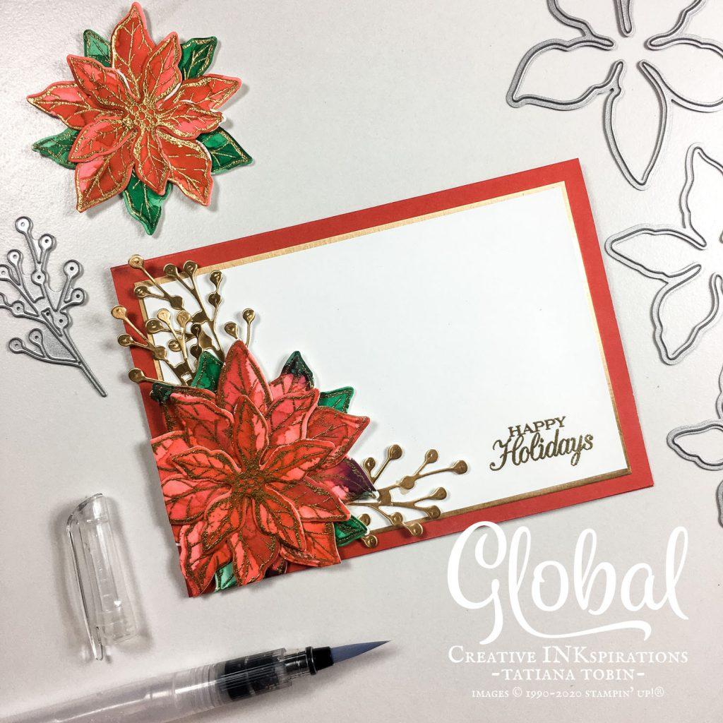 Tatiana Creative Stamping Adventure - Watercolour Poinsettia Christmas card using Poinsettia Petals Bundle from Stampin' Up!®