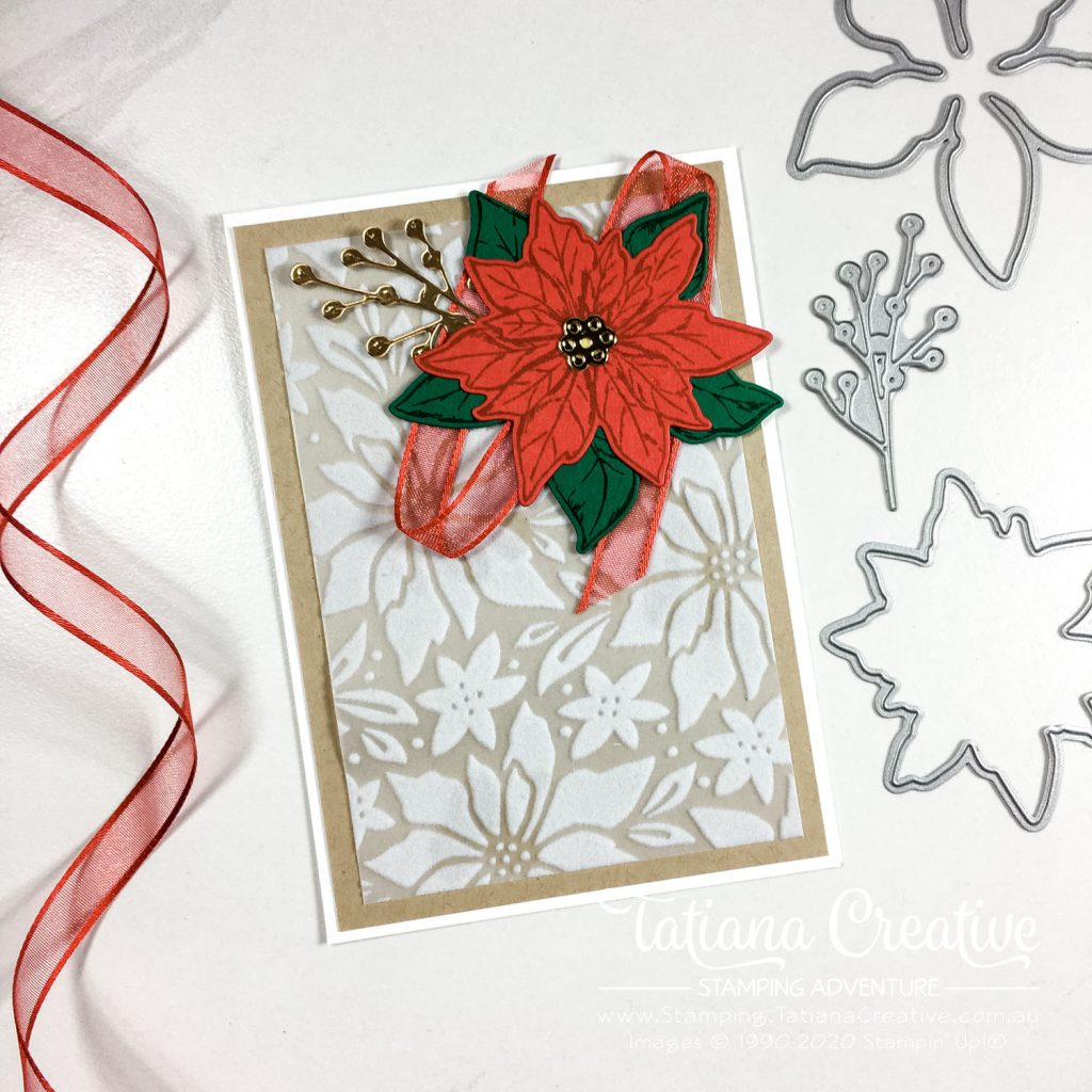 Tatiana Creative Stamping Adventure - Poinsettia Christmas Card using Poinsettia Petals Bundle and Plush Poinsettia Specialty Paper from Stampin' Up!®