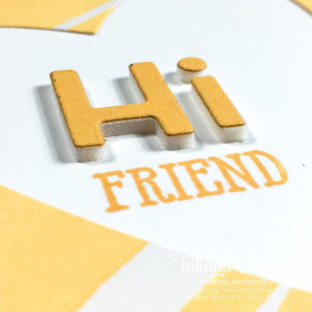 Tatiana Creative Stamping Adventure - July 2020 In Color Club Hello Friend card using Bumblebee from Stampin' Up!®
