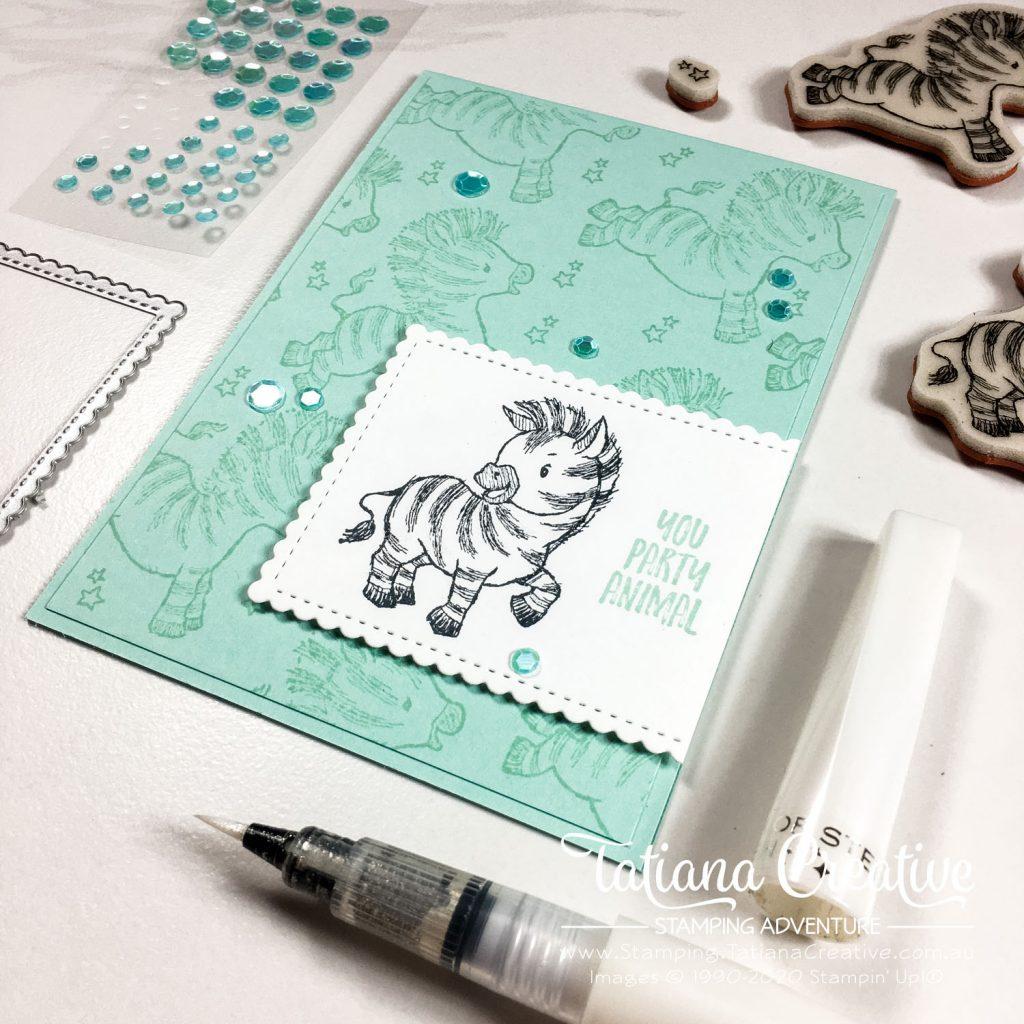 Tatiana Creative Stamping Adventure - Party Zebra Birthday card using Zany Zebras Stamp Set from Stampin' Up!®