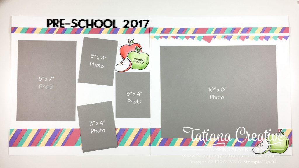 Tatiana Creative Stamping Adventure - Fun Pre-School Photos spread using up scraps of card stock and the Harvest Hello stamp set from Stampin' Up!®