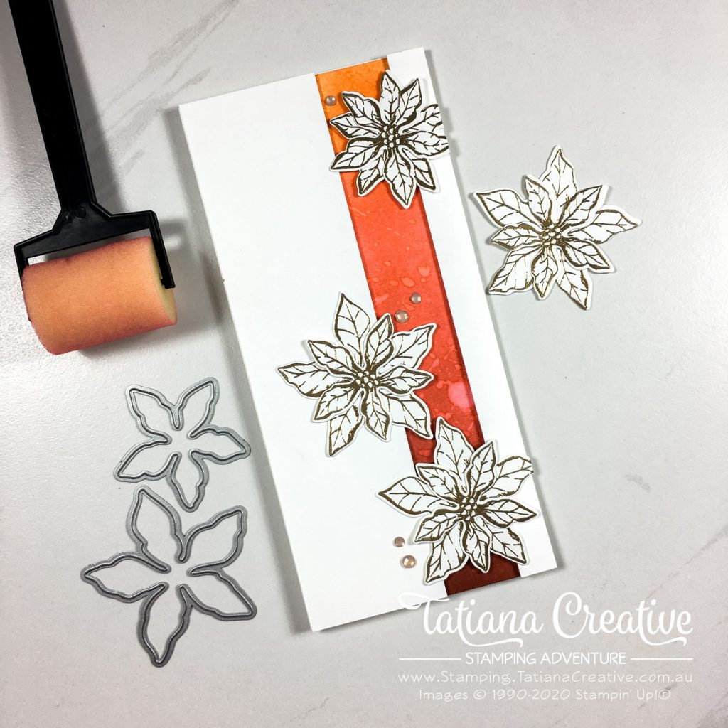 Tatiana Creative Stamping Adventure - White, Gold & Red Poinsettia card using Poinsettia Petals Stamp Set from Stampin' Up!®