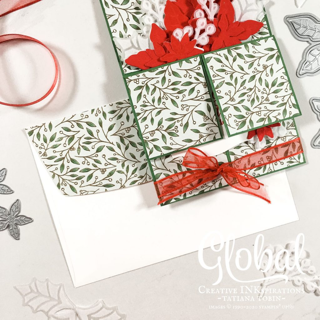Tatiana Creative Stamping Adventure - 3D Pop Up Poinsettia Christmas Box Card using Poinsettia Petals Suite from Stampin' Up!®