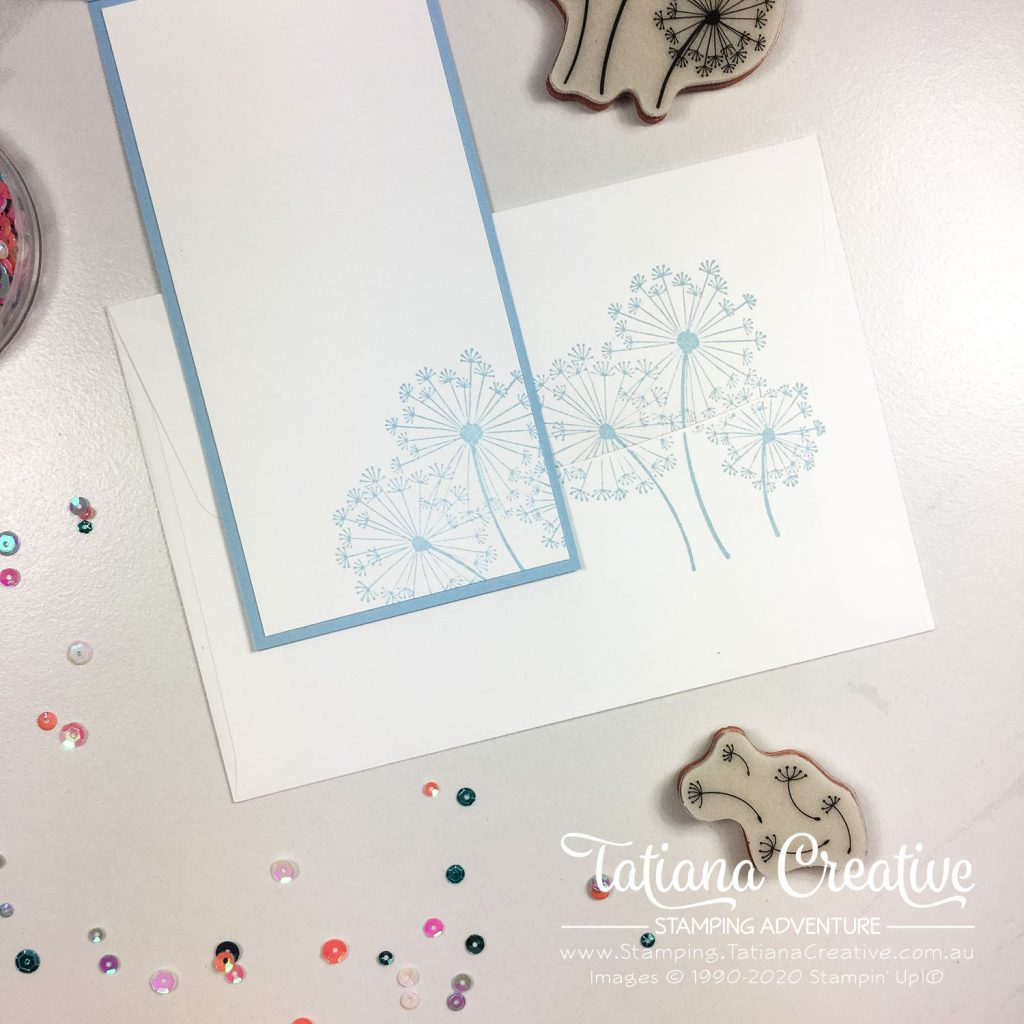 Fantastic Fun Folds with Tatiana Creative Stamping Adventure - Portrait Bridge Card using Dandelion Wishes stamp set and Feels Like Frost Specialty DSP both from Stampin' Up!®