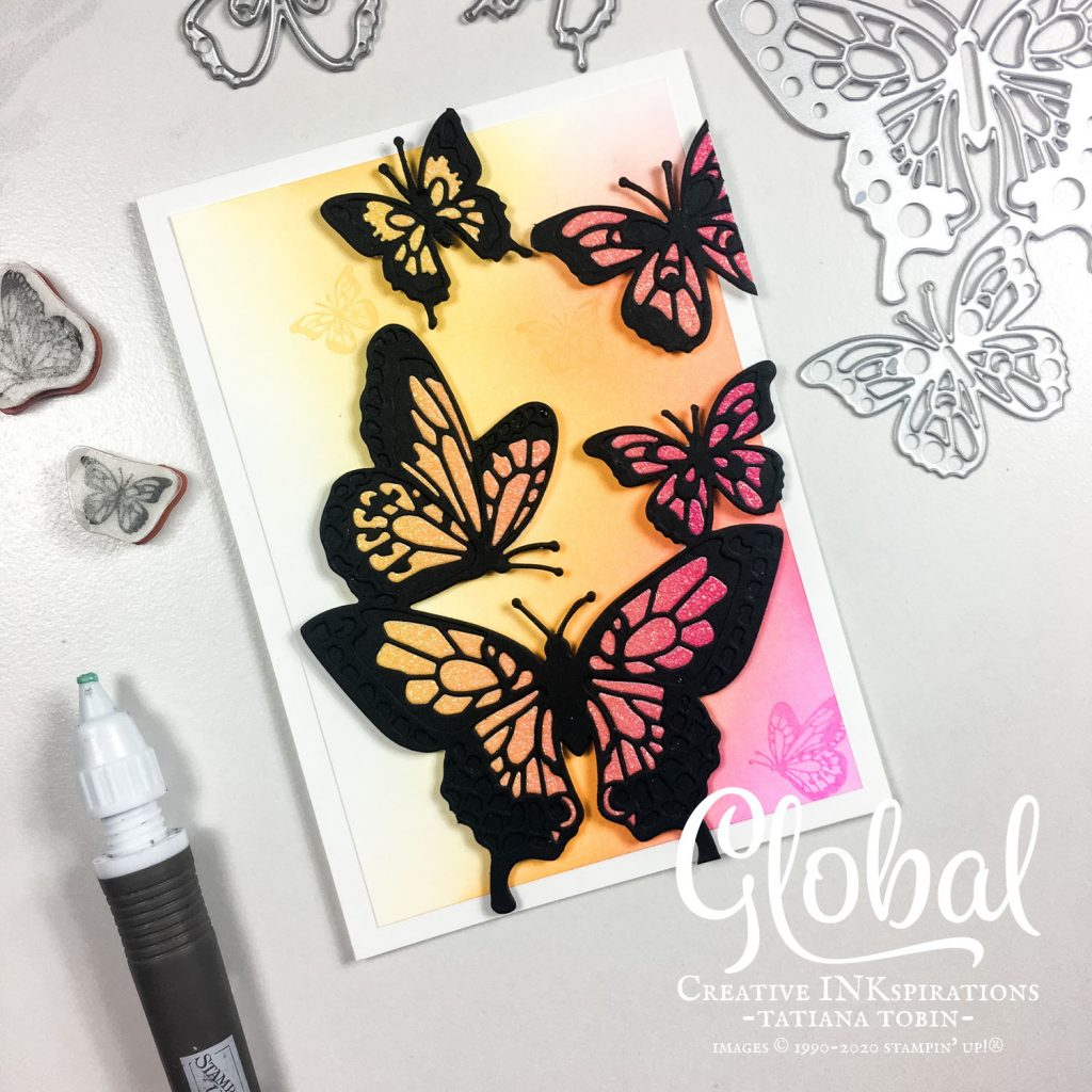 Tatiana Creative Stamping Adventure - Rainbow Glimmer Butterfly Card using Butterfly Beauty Dies from Stampin' Up!®