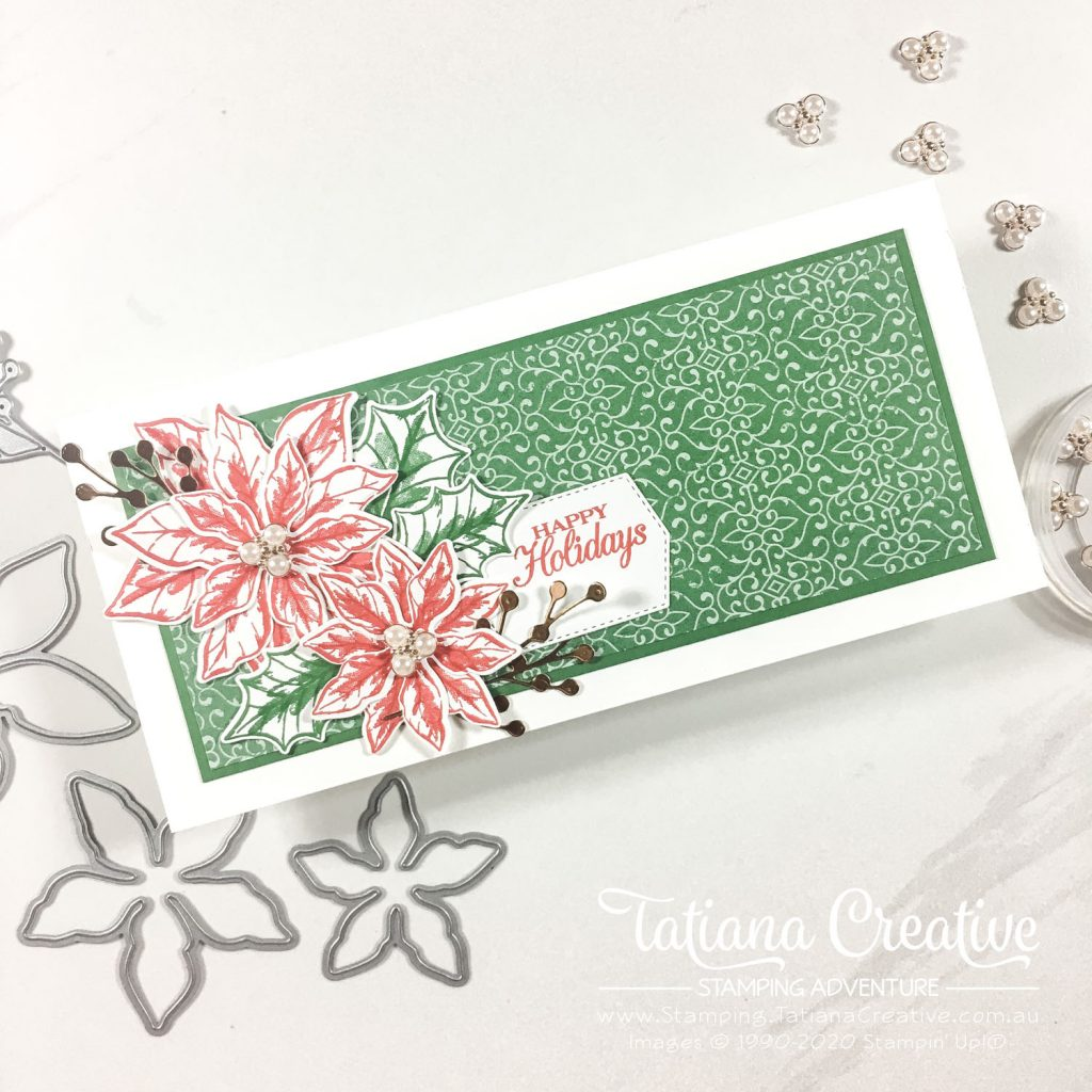 Fantastic Fun Folds with Tatiana Creative Stamping Adventure - Slimline Card using Poinsettia Petals Bundle from Stampin' Up!®