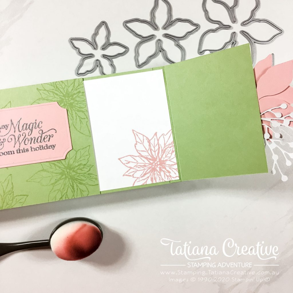 Fantastic Fun Folds with Tatiana Creative Stamping Adventure - Slimline Gate Fold Card using Poinsettia Petals Bundle from Stampin' Up!®