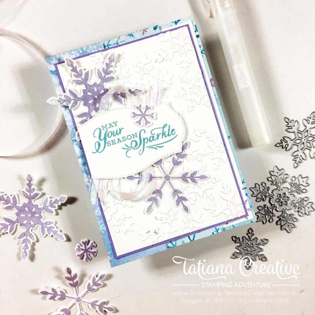 Tatiana Creative Stamping Adventure - Shimmery Snowflake Splendor Christmas Card using Snowflake Wishes stamp set from Stampin' Up!®