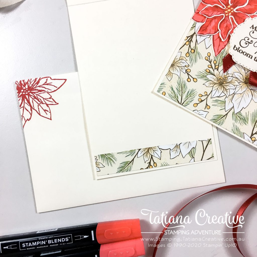 Tatiana Creative Stamping Adventure - Poinsettia Place DSP One Sheet Wonder Christmas Cards using Poinsettia Petals stamp set from Stampin' Up!®