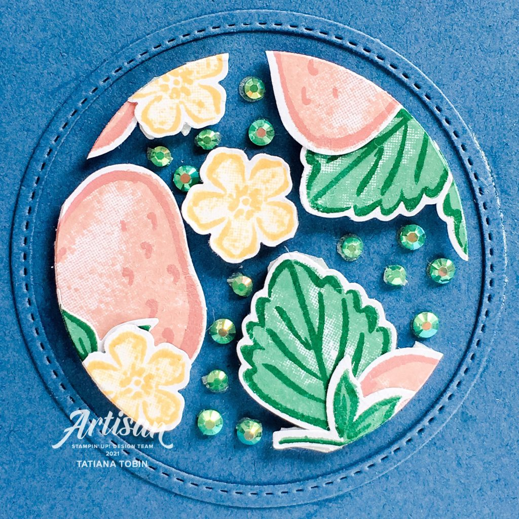 Tatiana Creative Stamping Adventure 2021 Artisan Design Team Member - Strawberry Floating Frame Card using Sweet Strawberry Bundle from Stampin' Up!®